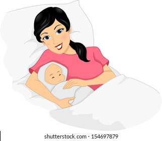 Illustration of a Young Mother Posing with Her Newly Born Baby