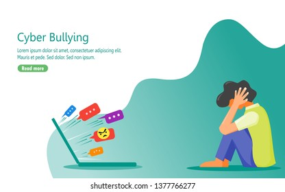 Illustration of a young person that depressed because of the verbal abuse he or she get from people on the internet.