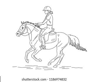 An illustration of a young rider cantering on a big pony.