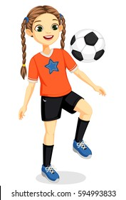 Illustration of young soccer player girl