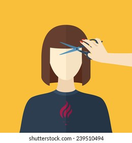 Illustration of a young woman. Cutting hair at the hairdresser. Beauty procedures made in flat design. Vector