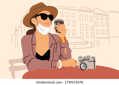 Illustration of a young woman in facial mask sitting on the cafe terrace alone. Concept of social distancing and new social rules after coronavirus pandemic