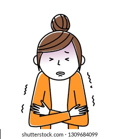 Illustration of a young woman feeling chills.
