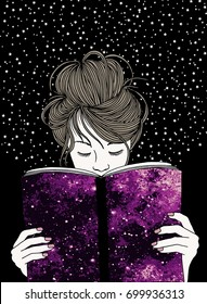 Illustration of a young woman holding a book, with black background and tiny stars