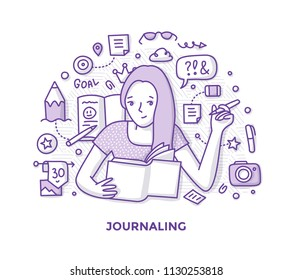 Illustration of young woman, making notes in journal, writing her diary capturing memories of life. Hand writing and journaling doodle concept.