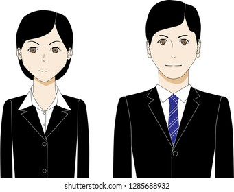 Illustration of young woman and man in black suits.