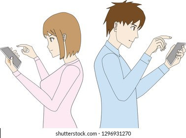 Illustration of young woman and man who have a smartphone in the hand.