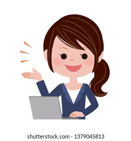 Illustration of a young woman operating a laptop computer.