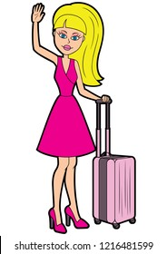 Illustration a young woman with a suitcase, waving a hand, greeting someone