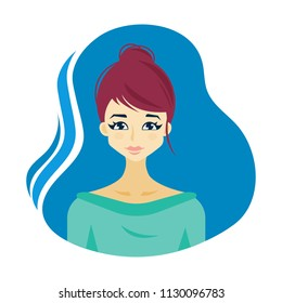 Illustration of a young woman. Vector clip art.
