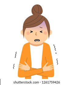It is an illustration of a young woman who feels cold.