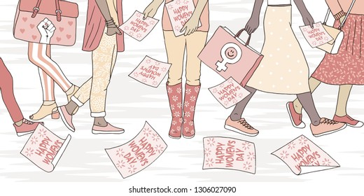 "Illustration of young women walking in the street on international women's day, girl distributing flyers that say ""happy women's day"""