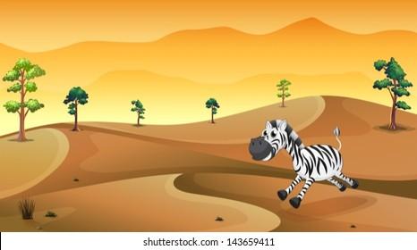 Illustration of a zebra in the desert