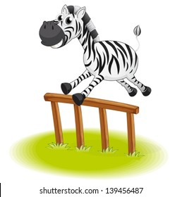 Illustration of a zebra jumping on a white background