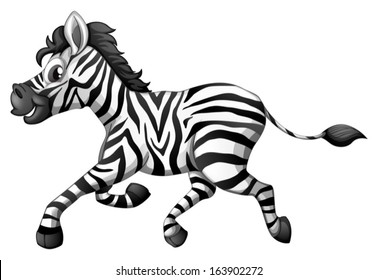 Illustration of a zebra running on a white background