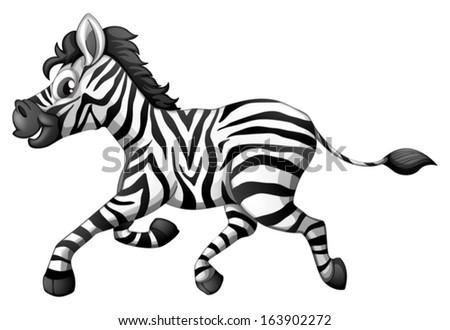 Illustration Zebra Running On White Background Stock Vector Royalty