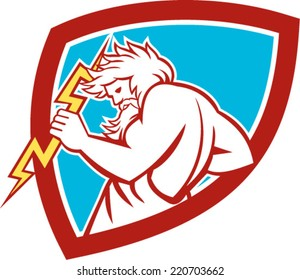 Illustration of Zeus, Greek god of the sky and ruler of the Olympian gods wielding holding a thunderbolt set inside shield on isolated white background.