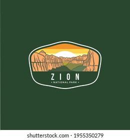 Illustration of zion national park emblem logo patch on dark background