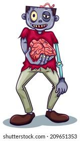 Illustration of a zombie holding his brain on a white background