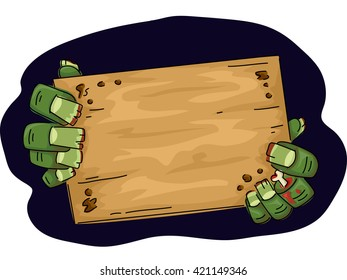 Illustration of a Zombie Holding a Wooden Board