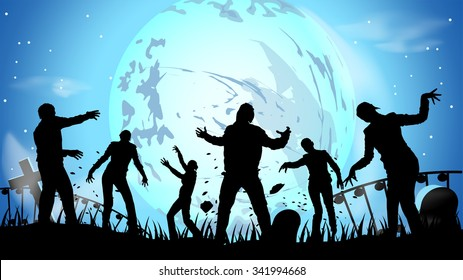 illustration of zombie party at night in the cemetery