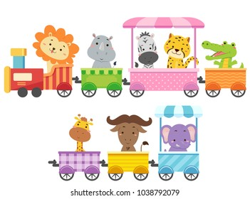 Illustration of Zoo Animals Riding a Colorful Train from Lion, Rhinoceros, Zebra, Cheetah, Alligator, Crocodile, Giraffe, Buffalo to Elephant
