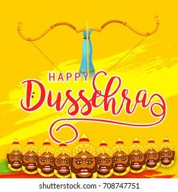 Illustration,banner or poster of dussehra with ten headed Ravana.
