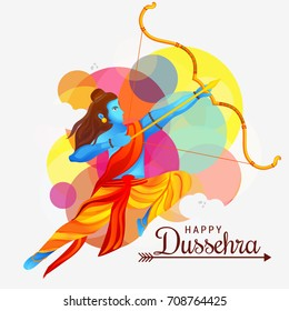 Illustration,banner or poster of dussehra with ten headed Ravana.