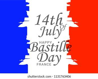 Illustration,banner or poster for French National Day.Happy Bastille Day.