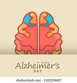 Illustration,Banner Of World Alzheimer Day.