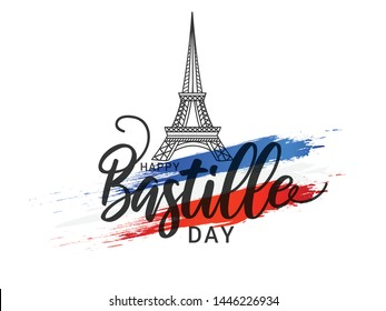 Illustration,card,banner or poster for French National Day,Happy Bastille Day.