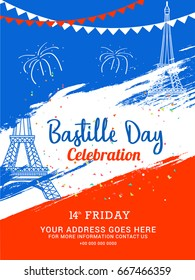 Illustration,Card,Banner Or Poster For The French National Day.Happy Bastille Day.