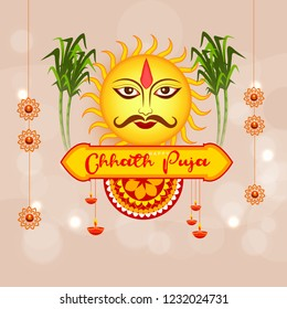 Illustration,Greeting Card Design For Festival Of Chhath Puja.