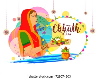Illustration,Greeting Card Design For Festival Of Chhath Parv.