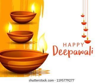 Illustration,Greeting Card Design For Festival Of Diwali With Beautiful Burning  Diya.