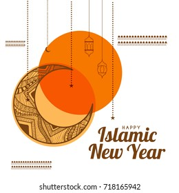 Illustration,Greeting Card For Islamic New Year.