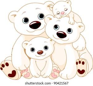 Illustrationn of Big Polar bear family
