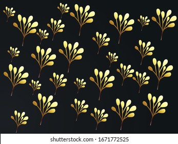 illustrationof golden 3d black papercut background. Geometric shapes textured with glitters black background abstract