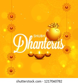 illustration,poster or banner with golden shiny pot filled with gold coins for indian dhanteras diwali festival background.