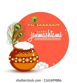 Illustration,poster or banner for indian festival of janmashtami celebration.