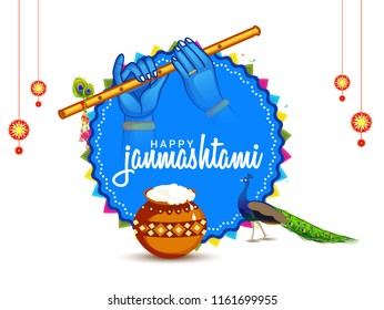 Illustration,poster or banner for indian festival of janmashtami celebration.