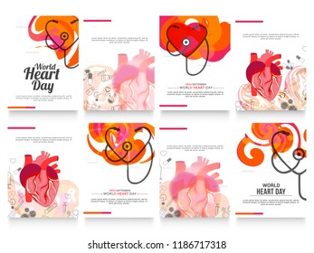 Illustration,Poster Or Banner Sets For World Heart Day Background.