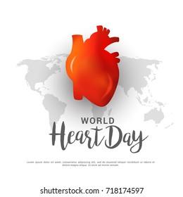 Illustration,Poster Or Banner For World Heart Day Background.