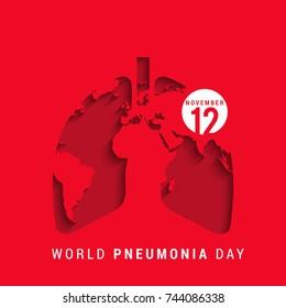 Illustration,Poster Or Banner Of World Pneumonia Day.