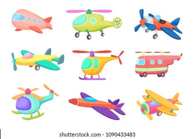 Illustrations of aeroplanes in cartoon style. Various toys for kids