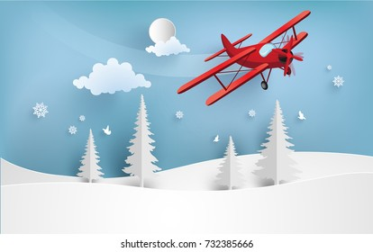 illustrations of airplanes crossing snow hills in winter. design paper art and handicraft