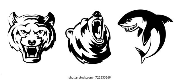 Illustrations of animals for sport badges. Grizzly, tiger and shark. Vector labels tattoo set isolate head bear and fish for sport logo