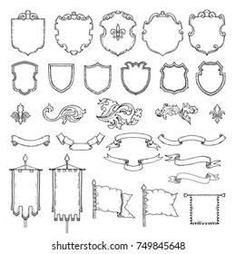 Illustrations of armed medieval vintage shields. Vector heraldic frames and ribbons. Shield and ribbon, heraldic frame medieval shields