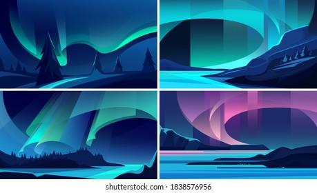Illustrations of aurora borealis. Beautiful nature landscapes.