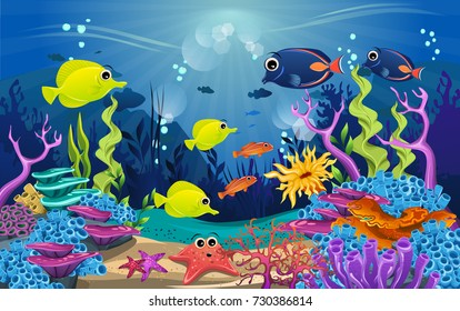 illustrations of the beauty of marine life. fish, algae and coral reefs are beautiful and colorful